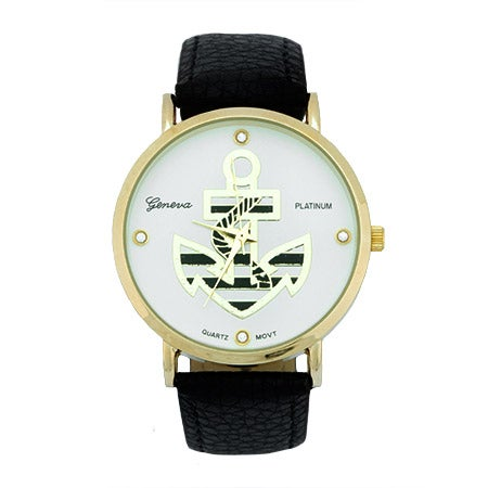Striped Anchor Black and Gold Watch | Eve's Addiction®