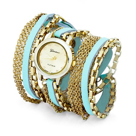 Multi Chain Mint and Gold Wrap Watch | Eve's Addiction®