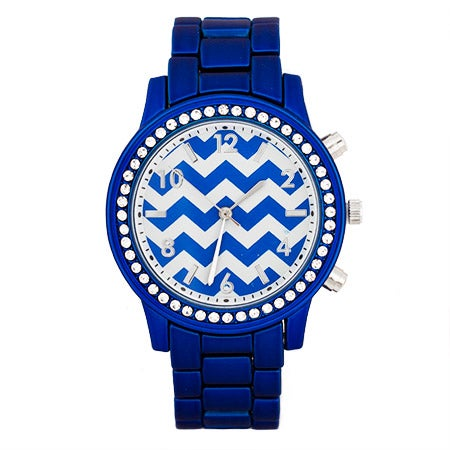 Chevron Metallic Blue CZ Fashion Watch | Eve's Addiction®