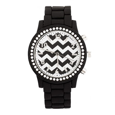 Chevron Black CZ Fashion Watch