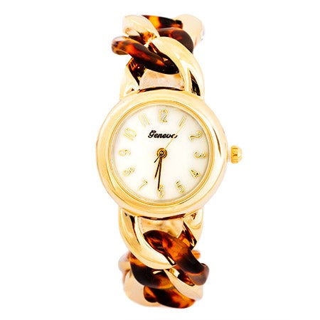 Curb Link Tortoise Shell and Gold Fashion Watch | Eve's Addiction®