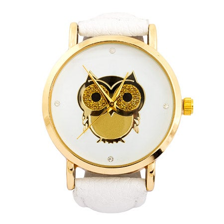 Golden Owl CZ White Leather Fashion Watch | Eve's Addiction®