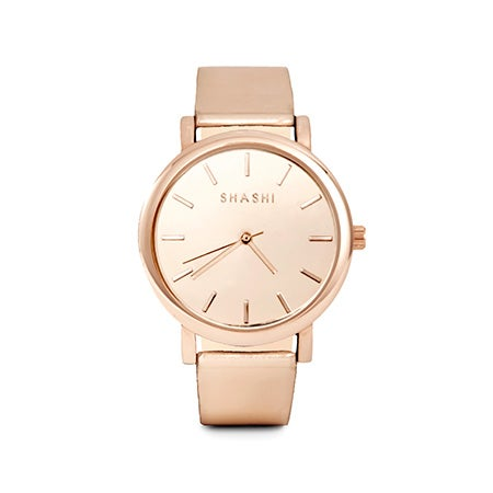 Shashi Metallic Rose Gold Adjustable Gleam Watch | Eve's Addiction®