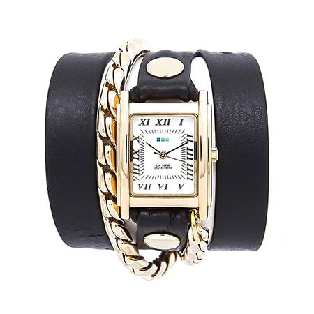 La Mer Cable Chain Black and Gold Leather Wrap Watch | Eve's Addiction®
