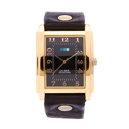 La Mer Black Wash Oversize Square Gold Watch | Eve's Addiction®