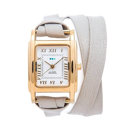 La Mer Milwood Double Strap Stone and Gold Leather Wrap Watch | Eve's Addiction®