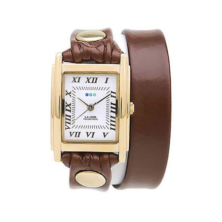 La Mer Brown and Gold Leather Double Wrap Watch | Eve's Addiction®
