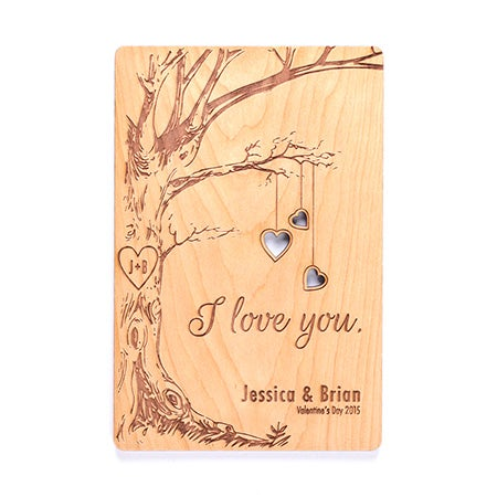 Engraved Tree Personalized I Love You Wood Postcard