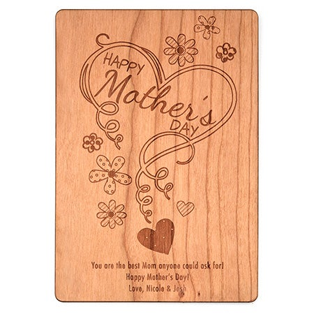 Personalized Happy Mother's Day Wood Postcard