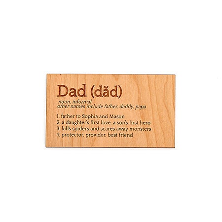 Personalized Definition of a Dad Wood Wallet Insert