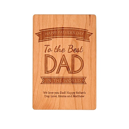 Engravable Best Dad in the World Wood Postcard