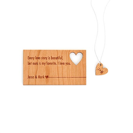 Personalized Couple's Wood Wallet Insert and Initial Necklace