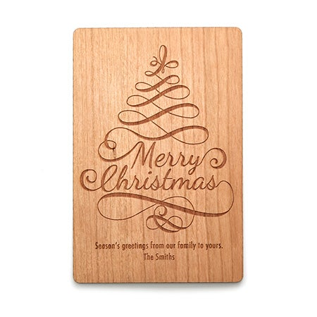 Engravable Wood Christmas Tree Card