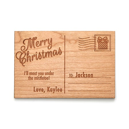 Engravable Merry Christmas Wood Postcard