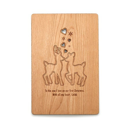 Engravable Reindeer Wood Christmas Card