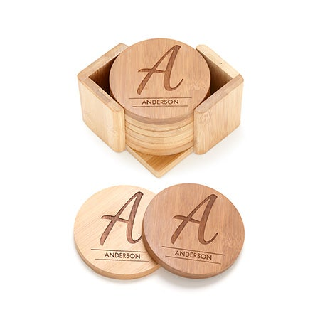 Single Initial Name Engraved Bamboo Round Coaster Set