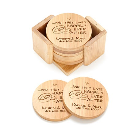 Engraved Happy Couple Bamboo Round Coaster Set