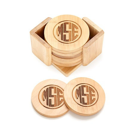 Block Monogram Engraved Bamboo Round Coaster Set