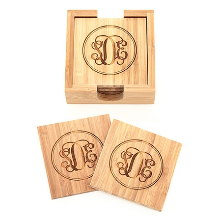 Fancy Script Monogram Engraved Bamboo Square Coaster Set