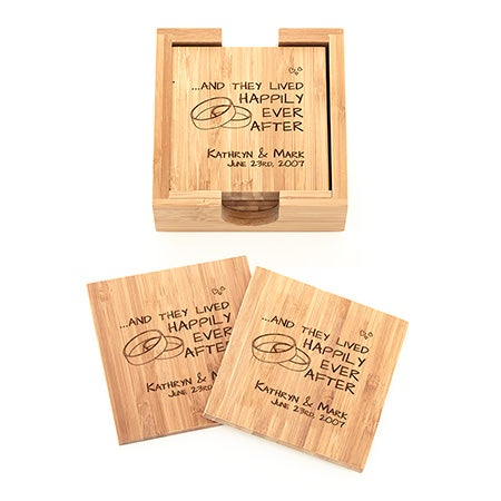 Happy Couple Engraved Bamboo Square Coaster Set