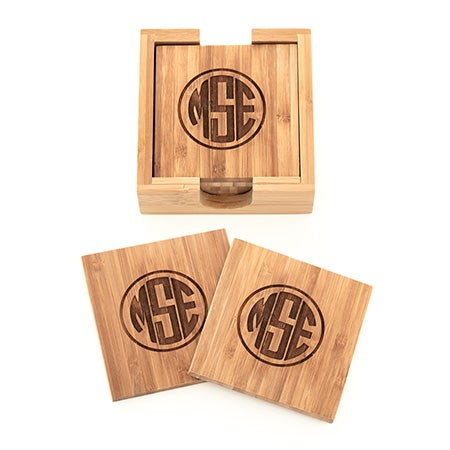 Block Style Engraved Bamboo Square Monogram Coaster Set