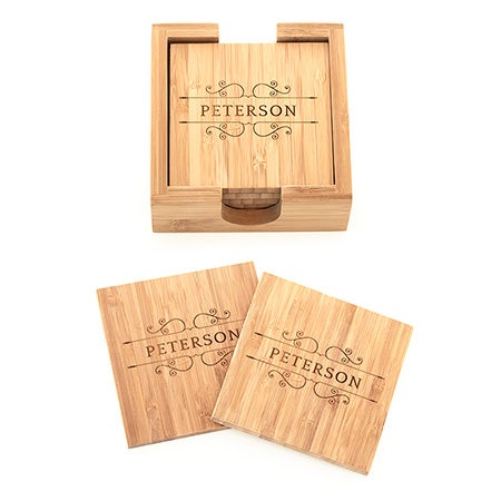 Engraved Family Name Vines Bamboo Square Coaster Set