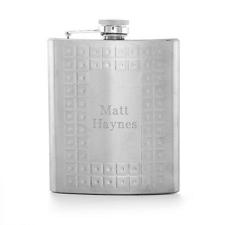 Engravable Greek Style Stainless Steel Flask