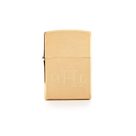 Engravable Brushed Brass Zippo Lighter