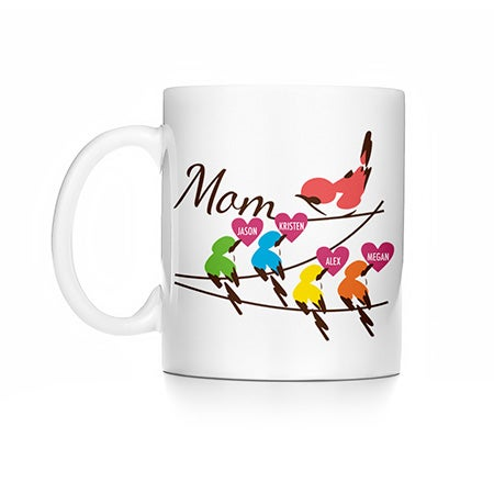 Personalized Mom and Baby Birds Mug