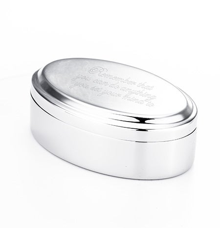Engravable Oval Keepsake Jewelry Box