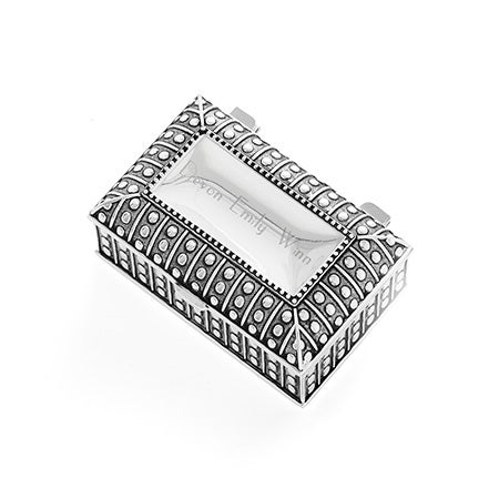 Engravable Antique Style Beaded Rectangle Jewelry Box