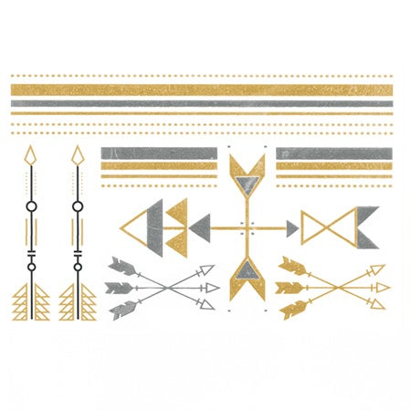 Gold and Silver Arrows Design Temporary Jewelry Tattoos | Eve's Addiction®