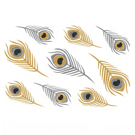 Exotic Feathers Gold and Silver Temporary Flash Tattoos | Eve's Addiction®
