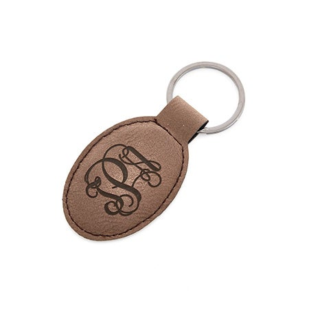 Monogrammed Fancy Script Oval Leather Keychain