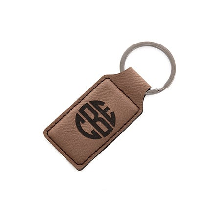 Monogrammed Block Rectangle Brown Leather Keychain