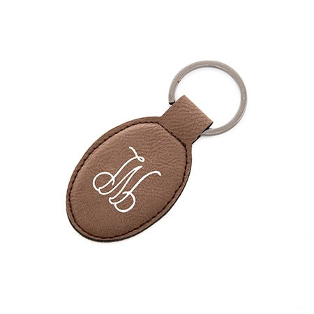 Foil Embossed Brown Leather Oval Keychain