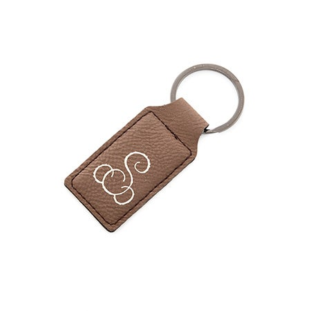 Foil Embossed Brown Leather Rectangle Keychain