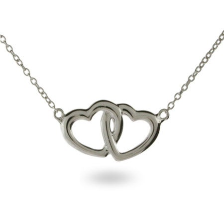 Sterling Silver Necklace with Joined Hearts | Eve's Addiction®