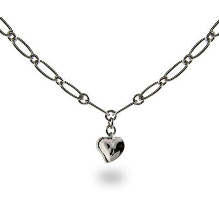 Tiffany Style Carved Heart Link Necklace