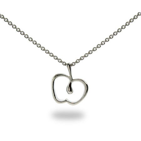 Designer Style Sterling Silver Apple Pendant | Eve's Addiction®
