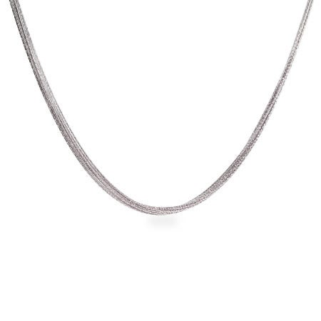 Multi Chain Sparkling Sterling Silver Necklace