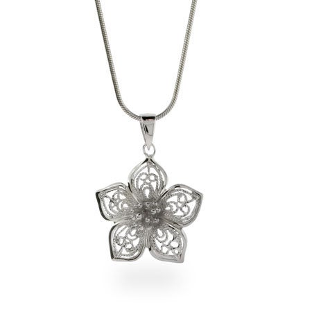 Sterling Silver Vintage Filigree Flower Necklace