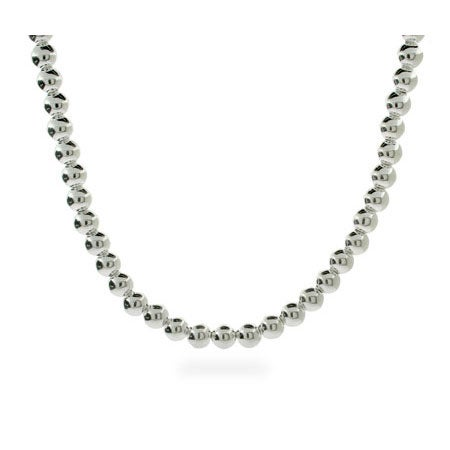 Designer Style 6mm Sterling Silver Bead Necklace | Eve's Addiction