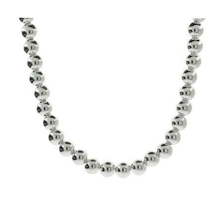 Designer Style 8mm Sterling Silver Bead Necklace | Eve's Addiction®