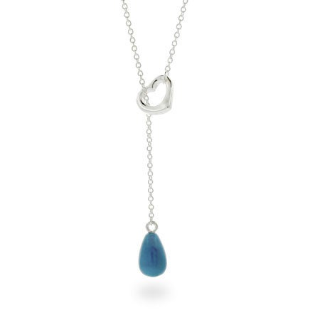 Turquoise Drop Silver Heart Lariat Necklace
