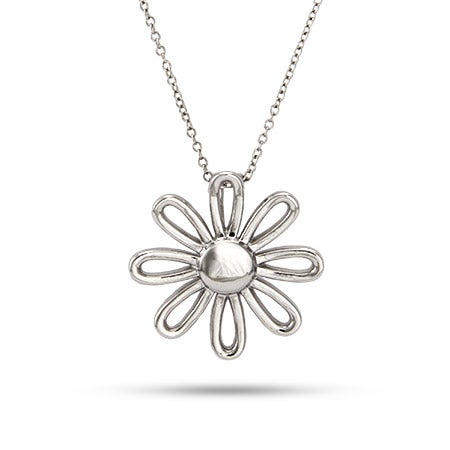 Designer Style Sterling Silver Daisy Necklace