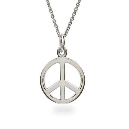 Sterling Silver Peace Sign Necklace | Eve's Addiction®