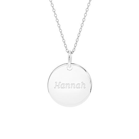 Engravable Round Tag Sterling Silver Necklace