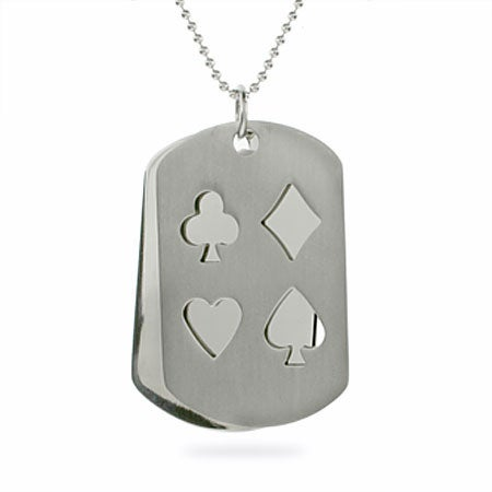 Engravable Poker Dog Tag Necklace | Eve's Addiction®
