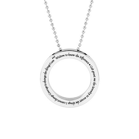 Serenity Prayer Stainless Steel Disc Pendant